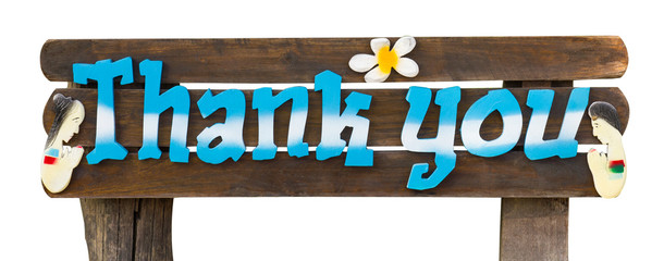 Wooden sign saying thank you