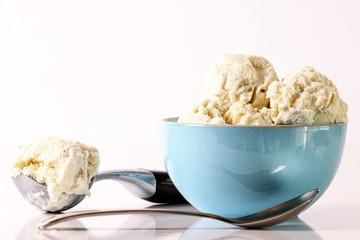 Vanilla ice cream in blue bowl
