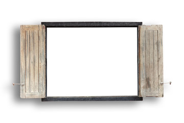 Old wooden windows frame on cement wall isolated on white