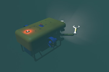 High quality 3D rendering of an ROV submersible deploying mechanical arms. Fictitious ROV is a unique design, created and modeled entirely by myself. Murky water to emphasize depth.