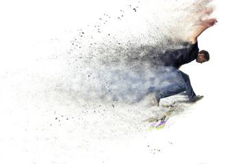 design of a Boy practicing skate in a skate park