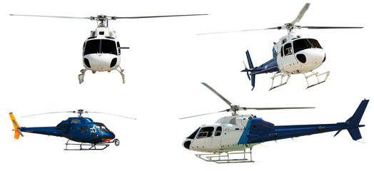 Photo sur Plexiglas Hélicoptère Set of Helicopters. Isolated on white