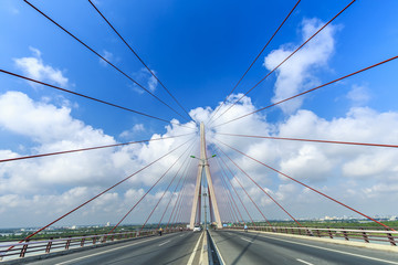 Beauty Can Tho bridge over the rope splash in beautiful sky.