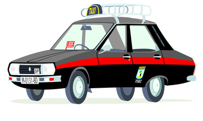 Caricatura Renault 12 taxi Madrid negro vista frontal y lateral