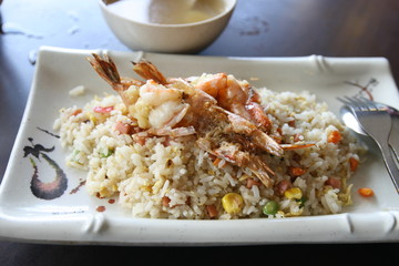 Shrimp Fried rice, chinese cuisine with spring vegetables.