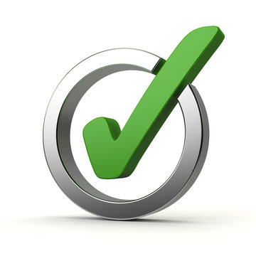 Green and silver checkmark on white background