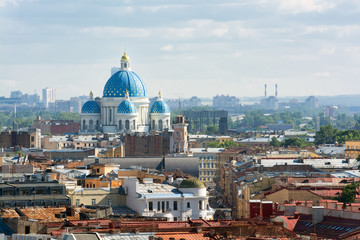 View from the colonnade of St. Isaac's Cathedral. Trinity Cathed