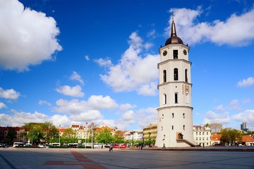 View of a Cathedral square of Vilnius old town