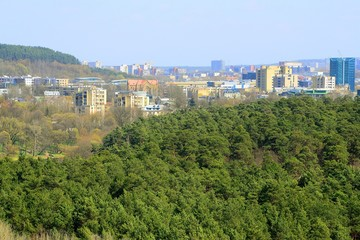 Vilnius city view from Neris river board in Lazdynai district
