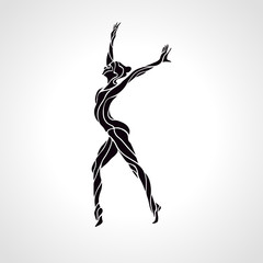 Creative silhouette of gymnastic girl. Art gymnastics dancing