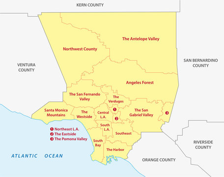 los angeles county regions map