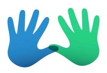 Colored vector handprints