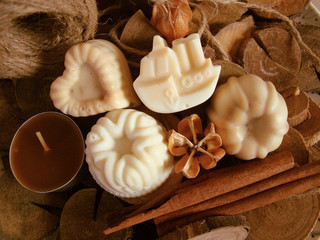 Beautiful spa composition with handmade soaps