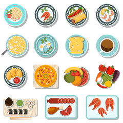 dishes flat icons set