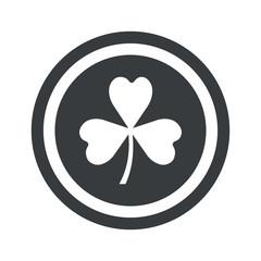 Round black clover sign