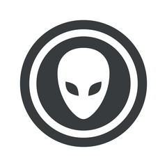 Round black alien sign