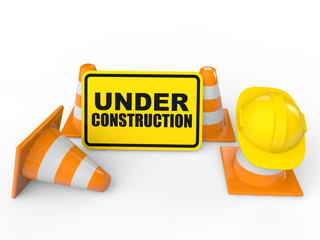 3d cones and under construction sign