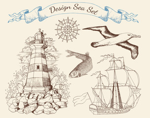 Design sea set with light house, ship, gull and fish