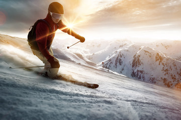 Printed kitchen splashbacks Winter sports Skier in a sunset setting