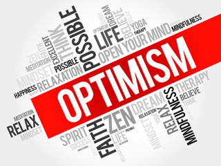 Optimism word cloud concept