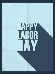Labor day poster. Hand holding wrench. Vintage paper banner