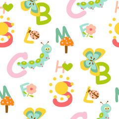 Seamless kids alphabet pattern with cute animal background