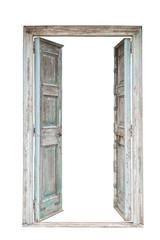 Grey retro style wooden door isolated on white