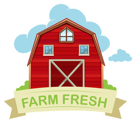 Farm fresh barn on white