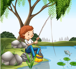 Young boy fishing in pond