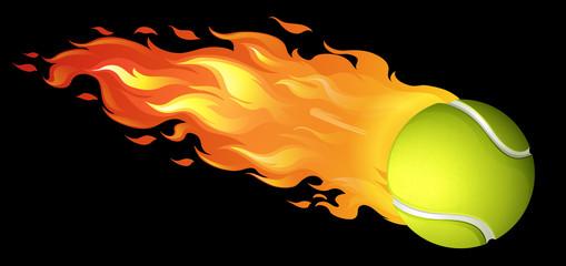 Flaming tennis ball on black
