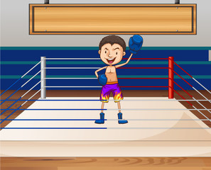 Single boxer in the ring