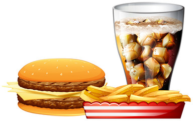 Burger, fries and a cola