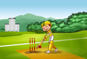 Boy playing cricket on pitch