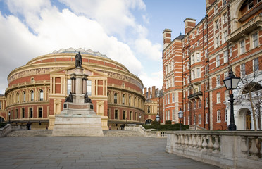 Royal Albert Hall, London. The iconic architecture of the Royal Albert Hall in Kensington, West London.  The music venue is home to the popular Proms series of concerts.
