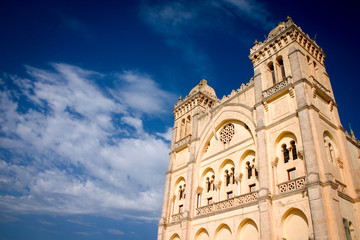 Saint Louis Cathedral, Carthage, Tunisia. Low angle view of the St. Louis Cathedral, Carthage, Tunisia, with a cloudy sky in the background providing copy space.