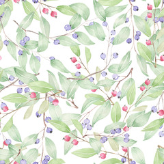 Seamless pattern of blueberries painted in watercolor on a white background