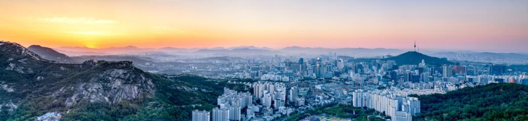 Wall Mural - Seoul Panorama bei Sonnenaufgang