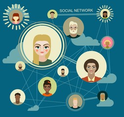 Social Media Circles, Network Illustration, Icon