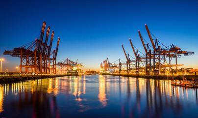 Fond de hotte en verre imprimé Port Hamburg Containerhafen