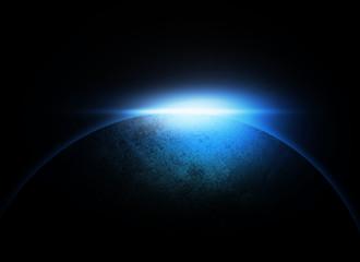 Blue Planet on dark space background