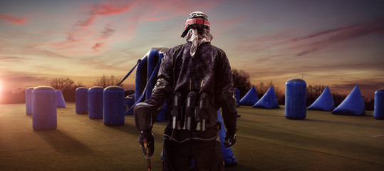 Paintball player facing Field