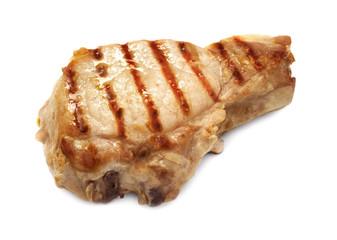 roasted  steak on white background