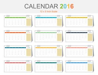 Calendar 2016 template (vector eps10)