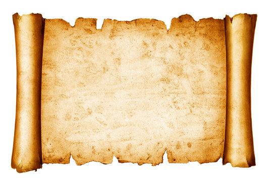 vintage scroll isolated on white background