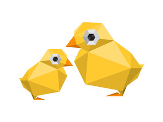 Illustration of funny, modern origami chickens