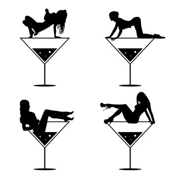 girl and martini black vector silhouette