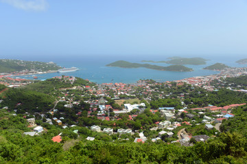 Town of Charlotte Amalie, Long Bay and Hassel Island aerial view at Saint Thomas Island, US Virgin Islands, USA