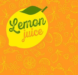 Vector fruit pattern Lemon