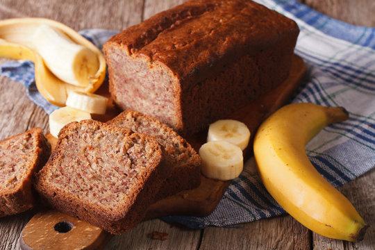 Fresh homemade banana bread close-up on the table. horizontal