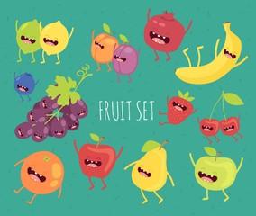Fruit set. Apple, lemon, lime, pear, plum, apricot, blueberry, strawberry, pomegranate, grape, cherry, banana, orange, lime. Vector cartoon. Comic characters.